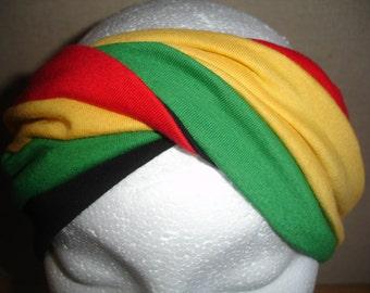 Rastafarian coloured twist stretch jersey turban headband