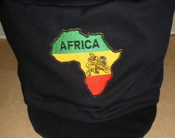 Rastafarian black hat with the africa emblem on the front