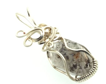Herkimer Diamond Wire Wrapped Crystal Gem Pendant 22