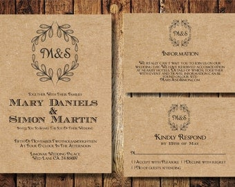Rustic Wedding Invitation template Set, Kraft Paper Wreath casual Wedding Invite, Digital PDF, personalised simple wedding invitation