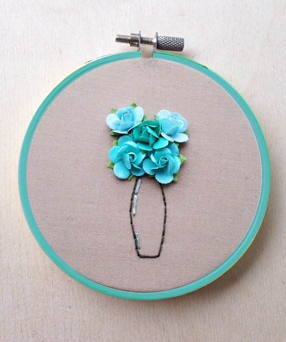 Paper flower hand embroidery hoop floral vase bouquet decor