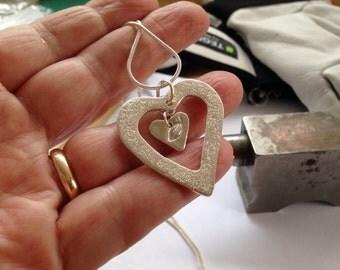 Two Hearts Fine Silver Pendant