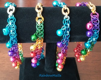 Rainbow Helms' chain pattern chainmaille anklet with bells