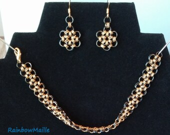 Gold on black Japanese Lace bracelet and snowflake earrings chainmaille jewelry set by RainbowMaille