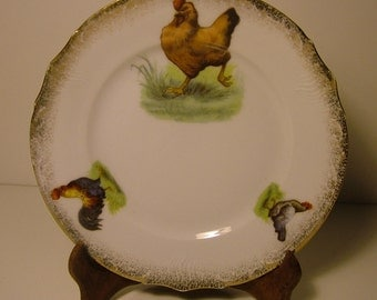 Vintage Porcelain Plate with Stenciled Chickens