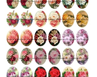 Instant Download Roses 18x13mm Ovals - Digital Collage Sheet