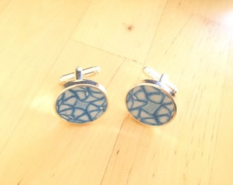 Blue and White polymer clay and resin cuff links
