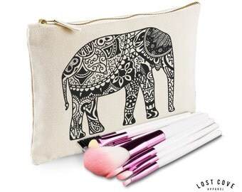 Boho Elephant Slogan Make Up Bag Case Makeup Gift Clutch Contents