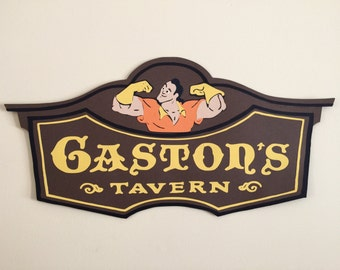 2 ft Long Gaston's Tavern Sign, Disney Party Prop, Beauty and the Beast