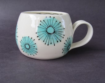 Porcelain Cup with Turquoise Flowers