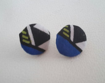 Blue african fabric stud earrings