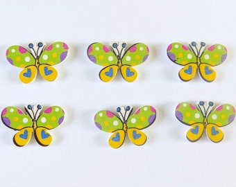 6 Green and Yellow Wooden Butterfly Buttons - #BF-00002