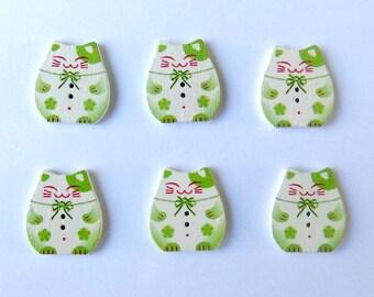 6 Green Plutus Cat Butons - 2 Holes - #SB - 00138