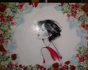 Summer - woman in poppy seed, picture, decoupage, canvas, paint