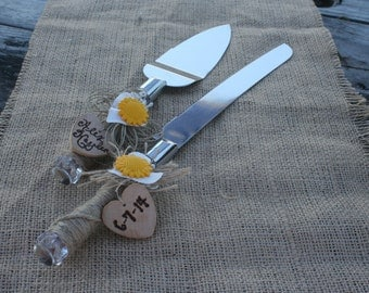 sunflower wedding cake knife set