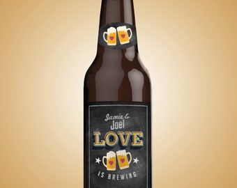 love is brewing, Coed bridal shower invitation- Beer label- couples wedding shower - bridal shower- Beer and BBQ, wedding,