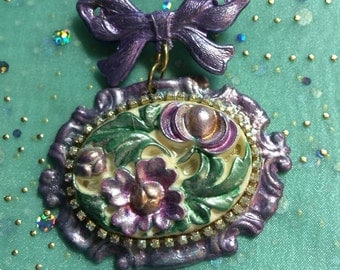 OOAK Brooch with hand painted brass components