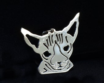 Pure Silver Sphynx Cat Breed Pendant for Pet's Collar