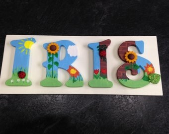 Personalised Wooden Door Name Sign - Ladybirds and Sunflowers