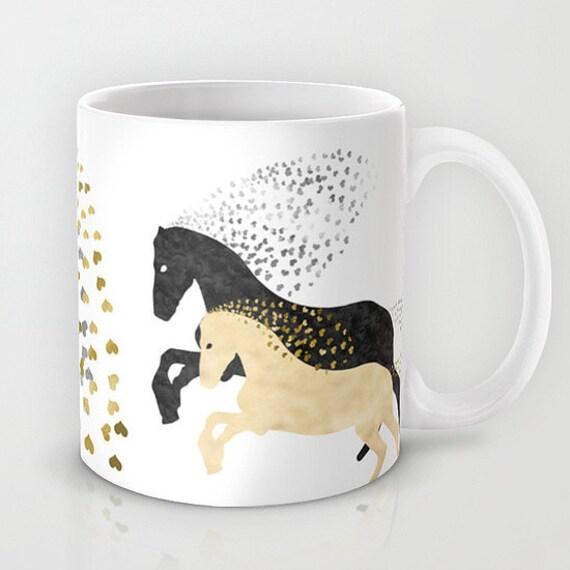 Horses mug 11 or 15 oz custom background ceramic coffee - Decoracion de tazas ...