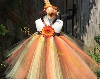 Beautiful Autumn Tutu Dress, Thanksgiving, Halloween, Scarecrow