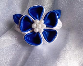 Royal Blue/White Kanzashi style flower