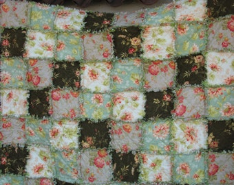 """Rag Quilt, Rag Quilt for Sale, Shabby Chic, Spring Bouquet,Rag Lap Quilt, Handmade,Approx 57"""" X 57"""",  Ready to Ship"""