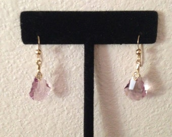 earring gold filler and Crystal lilac