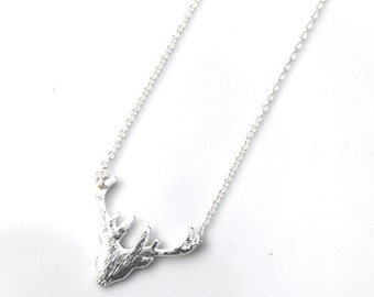 Silver Stag Necklace by Owl & moon