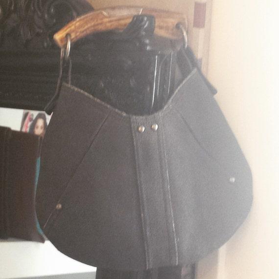 Yves Saint Laurent Denim Mombasa Horn Sling Bag by Kindustries