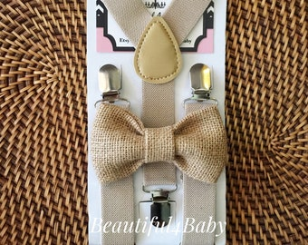 Burlap Bow Tie and Tan Khaki Suspenders, Rustic Wedding, Rustic Burlap Bow Tie, Burlap Baby Bow Tie, Burlap Toddler Bow Tie, 6 Mo to 5 Yrs