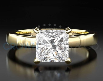 Diamond Engagement Ring Solitaire D VS Princess Cut Diamond 14K Yellow Gold Ring For Women