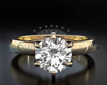 Diamond Anniversary Ring 18 Karat Yellow Gold 1.1 Carat Certified Round Cut D VS Women Diamond Ring