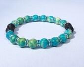Aromatherapy Bracelet ~ 8mm RainFlower Jade in green/blue