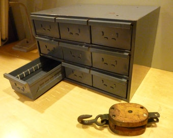 Vintage Industrial 9 Drawer  Tool Cabinet / Steel Chest / Card Catalog