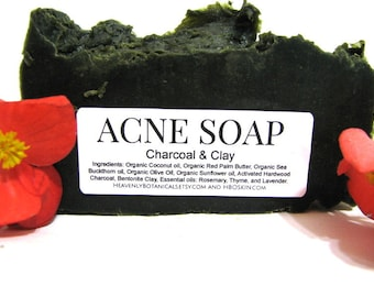 Acne Soap, Charcoal and Clay Soap, Blemish Soap, Organic Soap, Organic Coconut Oil Soap, Sea buckthorn oil soap, Skin clearing soap