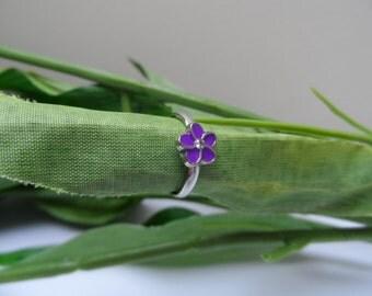 Childs adjustable Purple Flower Ring, kids rings, toddler rings, girls rings, adjustable rings, girls birthday gift, little girl rings