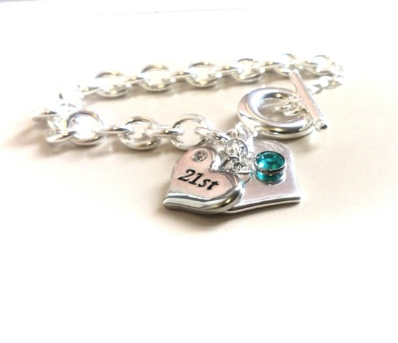 18th Birthday Heart Initial Bracelet 18th Birthday Jewelry: Items Similar To Birthday Gift, 21st Birthday, Bracelet