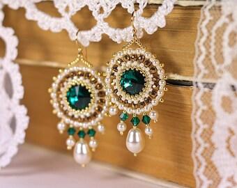"Bead woven earrings ""Emerald Island"". Beadwoven earrings with Swarovski crystal and pearl. Beaded earrings. Bead weaving, beadwork earrings"