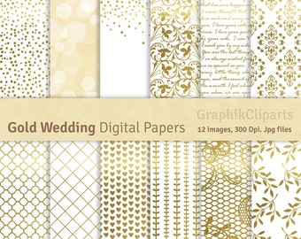 """Gold Wedding Digital Papers. """"WEDDING PAPERS"""". Gold Digital Papers, Wedding Backgrounds. 12 images, 300 Dpi. Jpg files. Instant Download."""