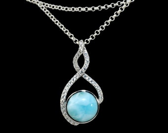 Stunning Larimar 10mm Necklace with White Sapphires Accent .925 Sterling Silver