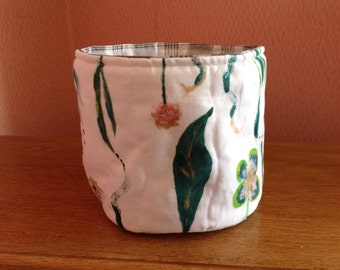 Basket/bin/ storage container. Hand painted and quilted with waterproof lining. Reversible