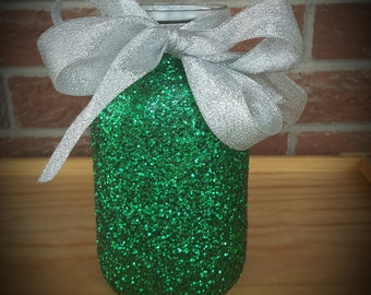 Large Glitter Mason Jar, Custom made jars, Painted Mason Jar, Mason Jar Vase, Mason Jar Organization, Table centerpiece,Choose color of bow!