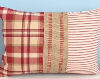 French country Farmhouse throw pillow cover. Red Plaid. Ticking pillow. Burlap. Rustic cabin. Country pillow. Holiday decor. Cottage pillow