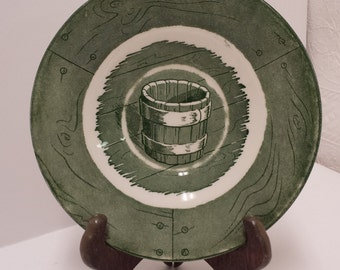 Four (4), 1950s Green Colonial Homestead by Royal Saucers; USA