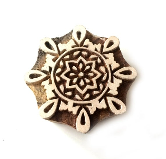 Block print stamps round geometric wood stamp hand carved