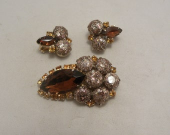 Vintage Amber & Topaz Glass, Confetti Cab Demi Brooch, Earring Set