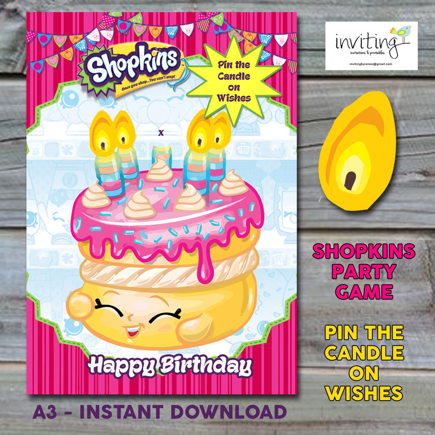 Shopkins Party Game A3 Pin the Candle on Wishes Instant