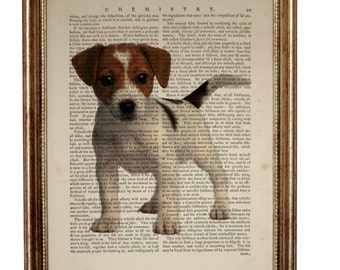 Jack Russell Terrier Dog, beautiful Art Print on Upcycled Dictionary Book page 8'' x 10'' inches