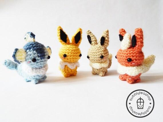 Amigurumi Pokemon Eevee : Amigurumi Pokemon Mini Eeveelution Amigurumi by BubblyTeaShop
